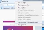 Beispiel Mozilla Firefox: Kontextmenü zur Wiederherstellung einer geschlossenen Webseite.